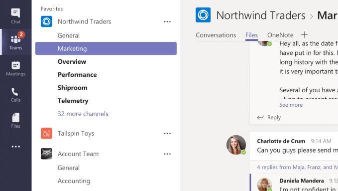 Marketing tab in Microsoft Teams App