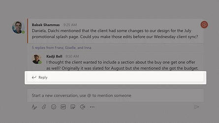 Reply function in Microsoft Teams App
