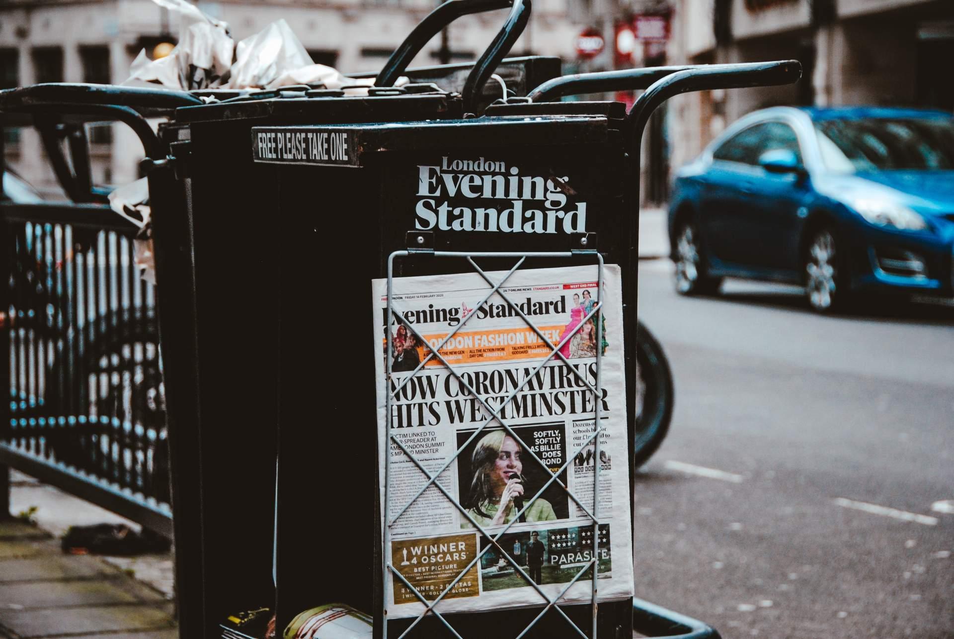 London evening standard newspaper stand showing Coronavirus article