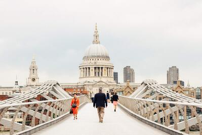 overlooking St Paul's cathedral from the Millennium Bridge