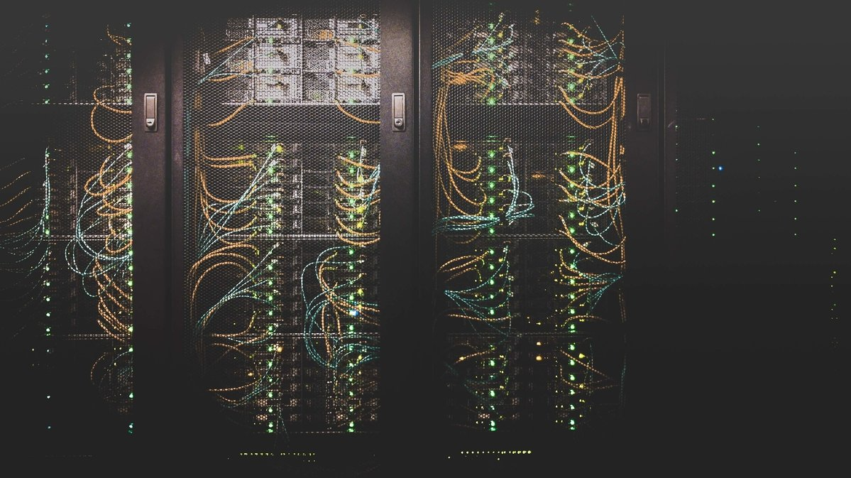 Almost abstract image of computers in a data centre