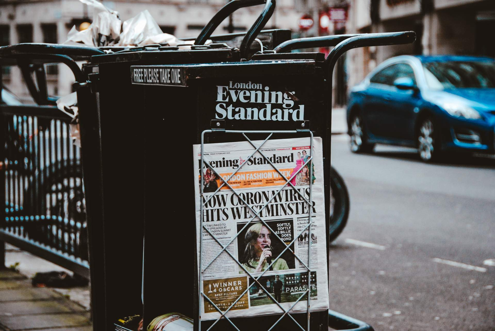 London evening standard newspaper stand showing Coronavirus article