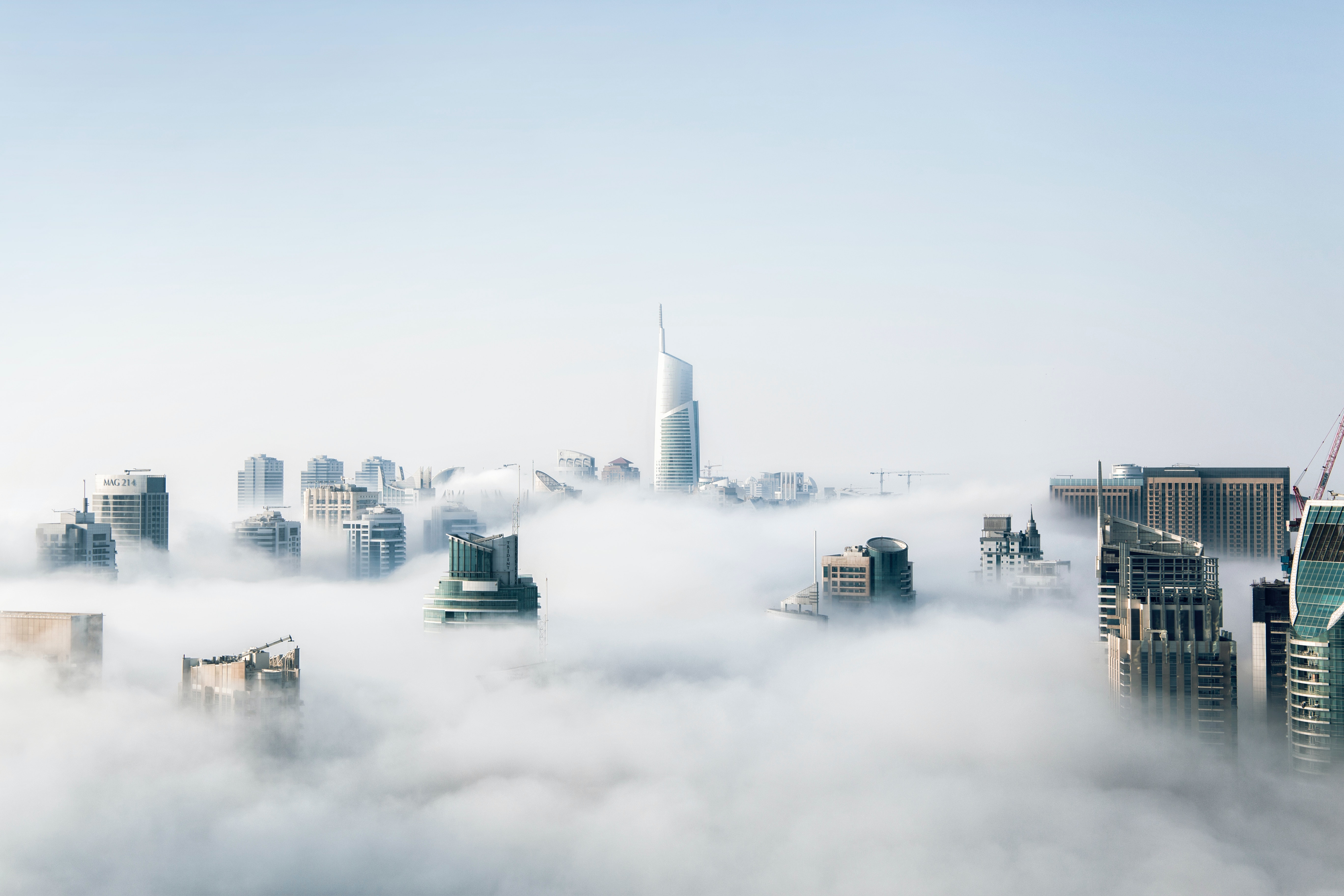 skyscrapers and clouds (legal industry's complete hybrid cloud guide)