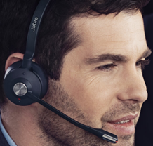 Man talking on Jabra headset